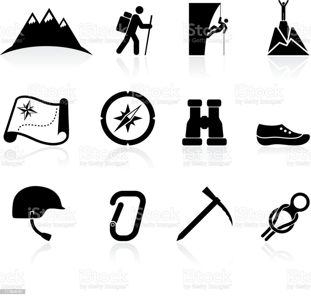 mountain climbing black and white royalty free vector icon set vector art illustration