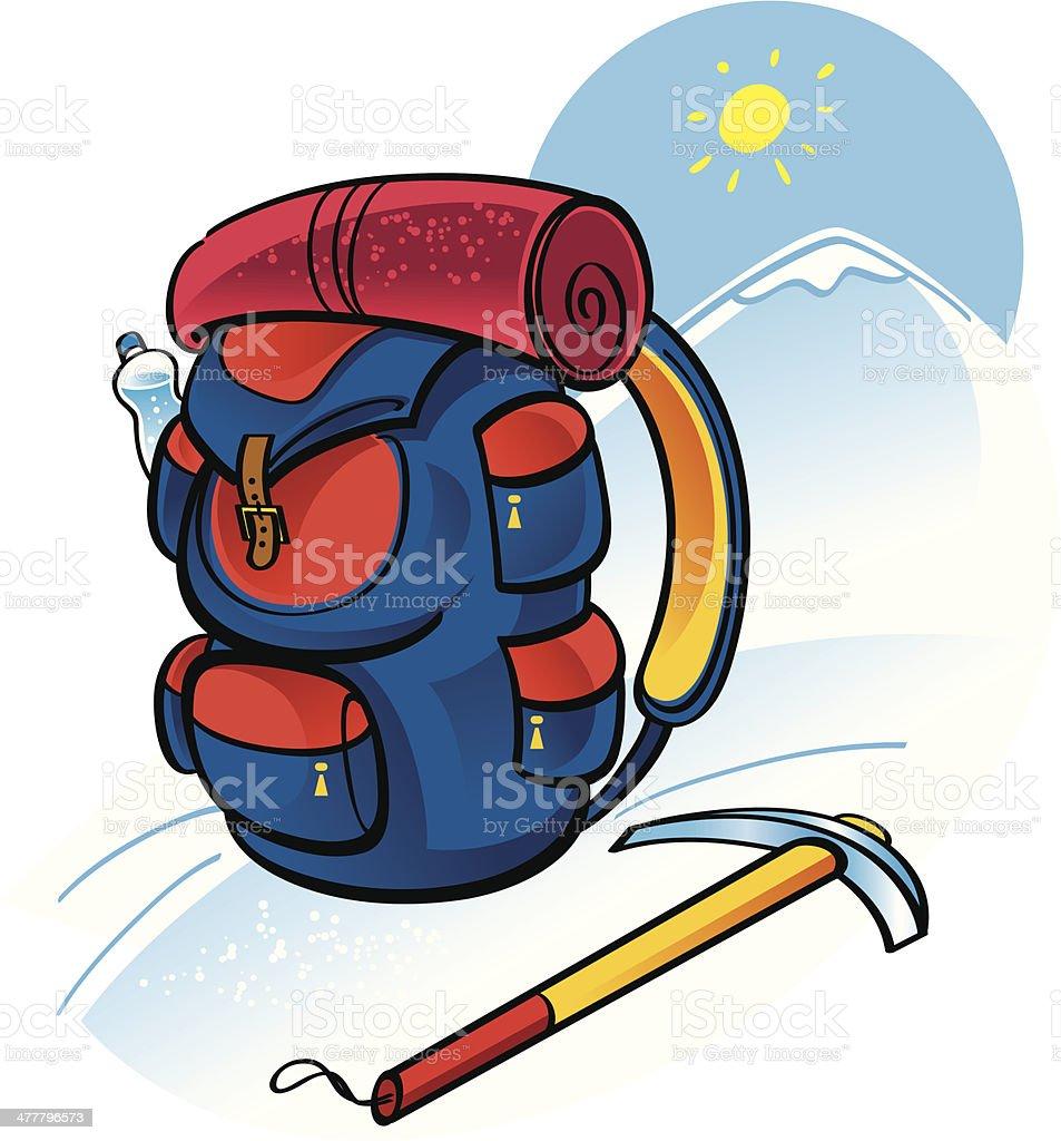 Mountain climbing vector art illustration