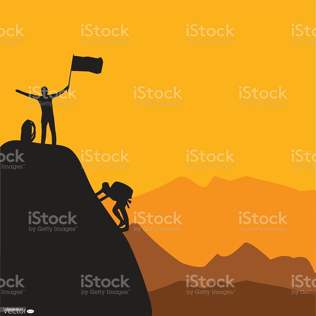 Mountain climbing, vector illustration vector art illustration