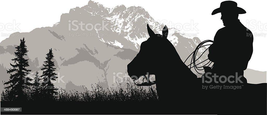 Mountain Cowboy royalty-free stock vector art