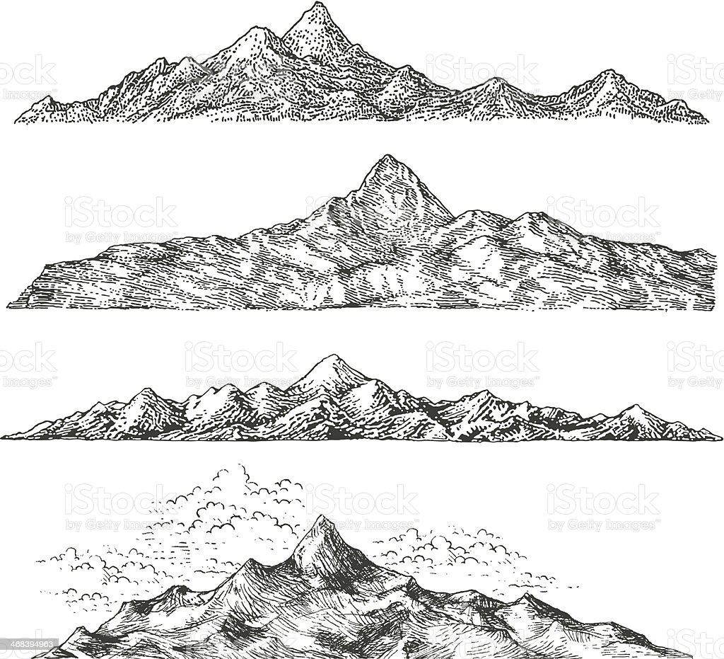 Mountain Drawings vector art illustration
