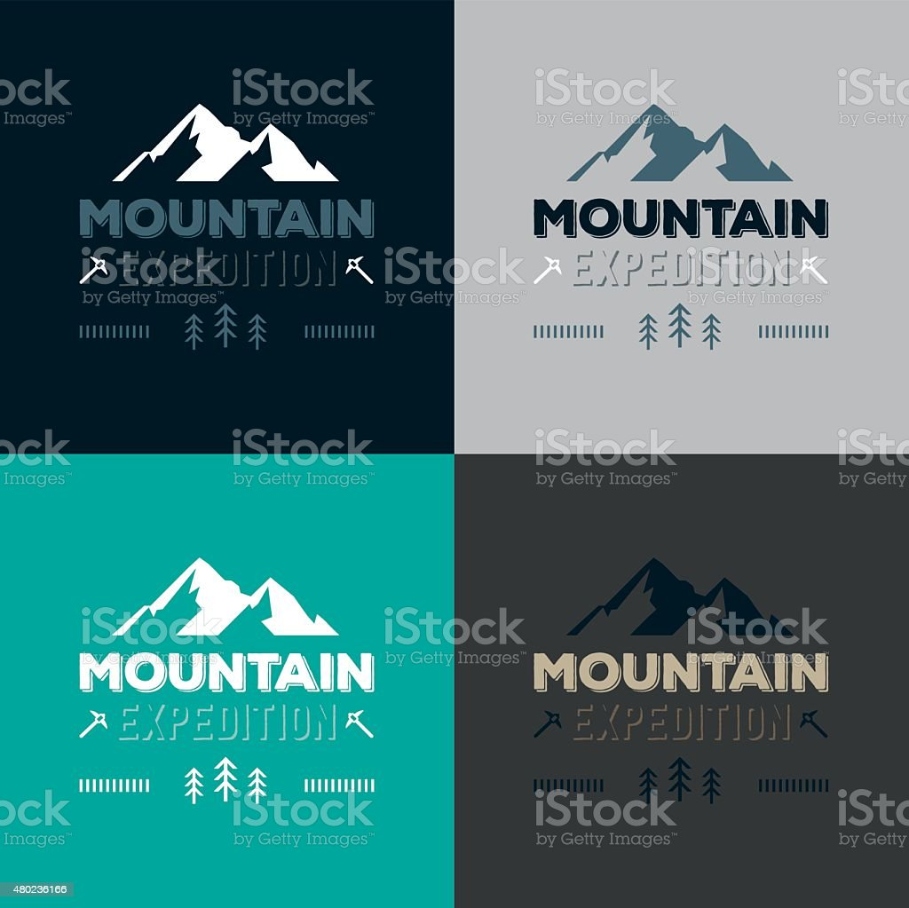 Mountain expedition logo badges vector vector art illustration