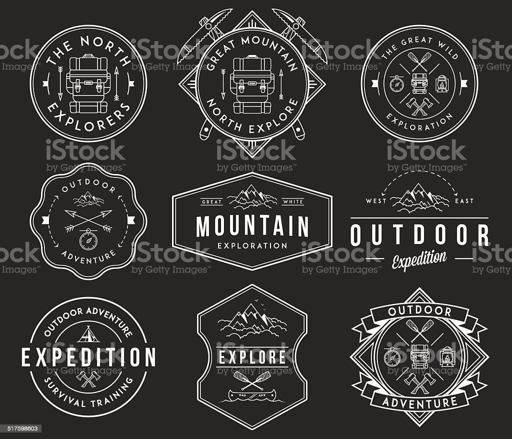 Mountain exploration white on black vector art illustration
