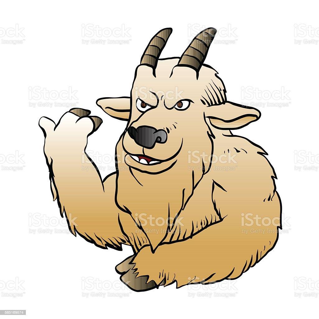 Mountain Goat cartoon. vector art illustration