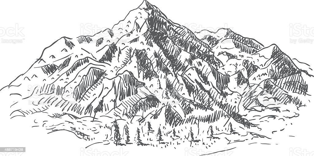 Mountain - hand drawing vector art illustration