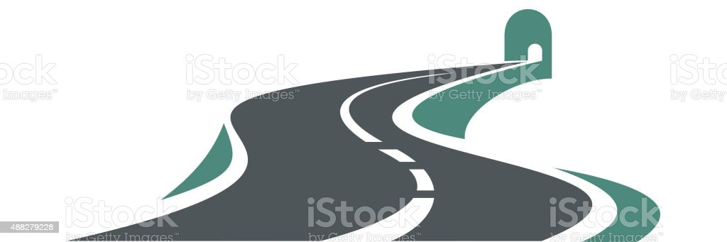 Mountain highway leading to a road tunnel vector art illustration