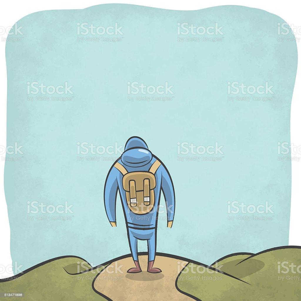 Mountain hiker walking in the wild vector art illustration