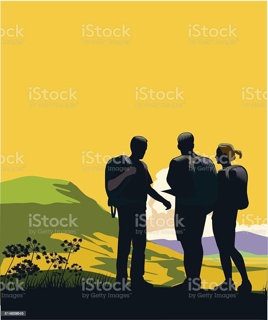 Mountain Hikers vector art illustration