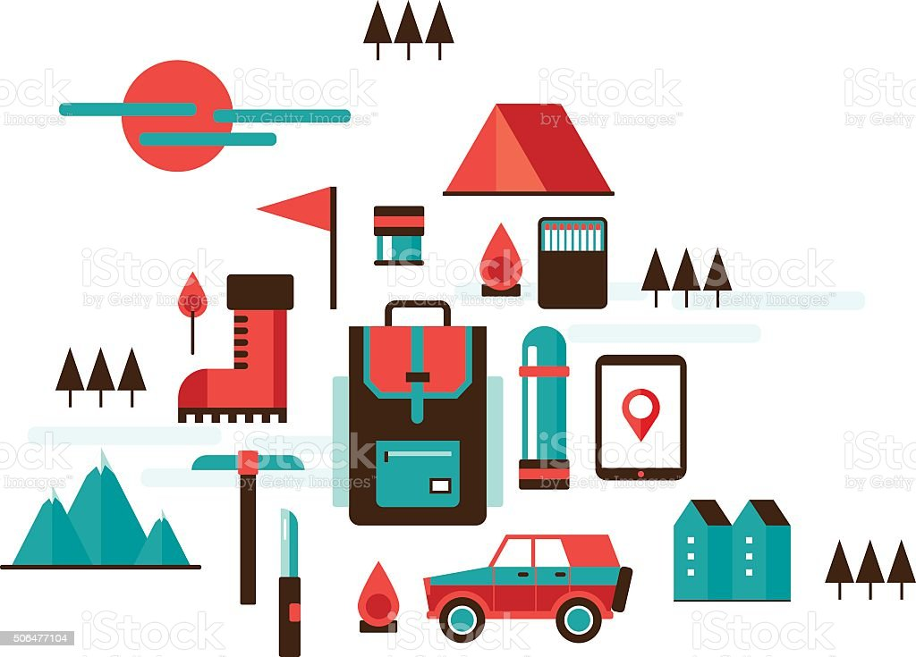 Mountain hiking and climbing Camping Travel Recreation Sport design elements vector art illustration
