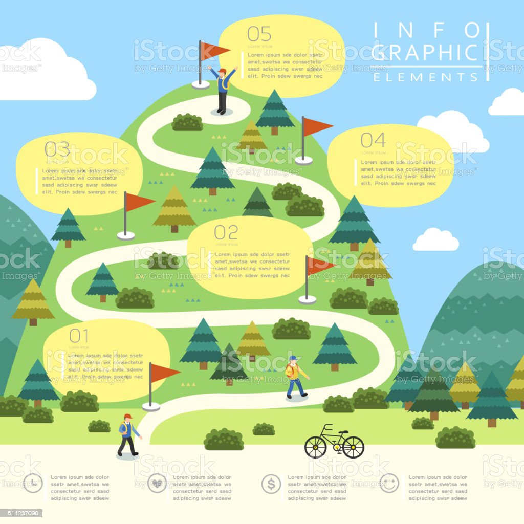 mountain hiking infographic design vector art illustration
