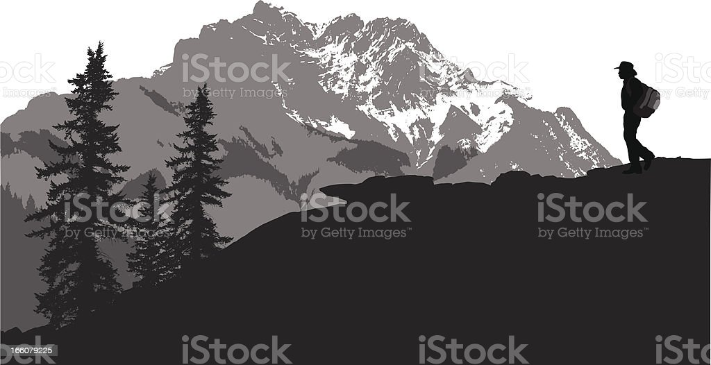Mountain Hiking Vector Silhouette royalty-free stock vector art