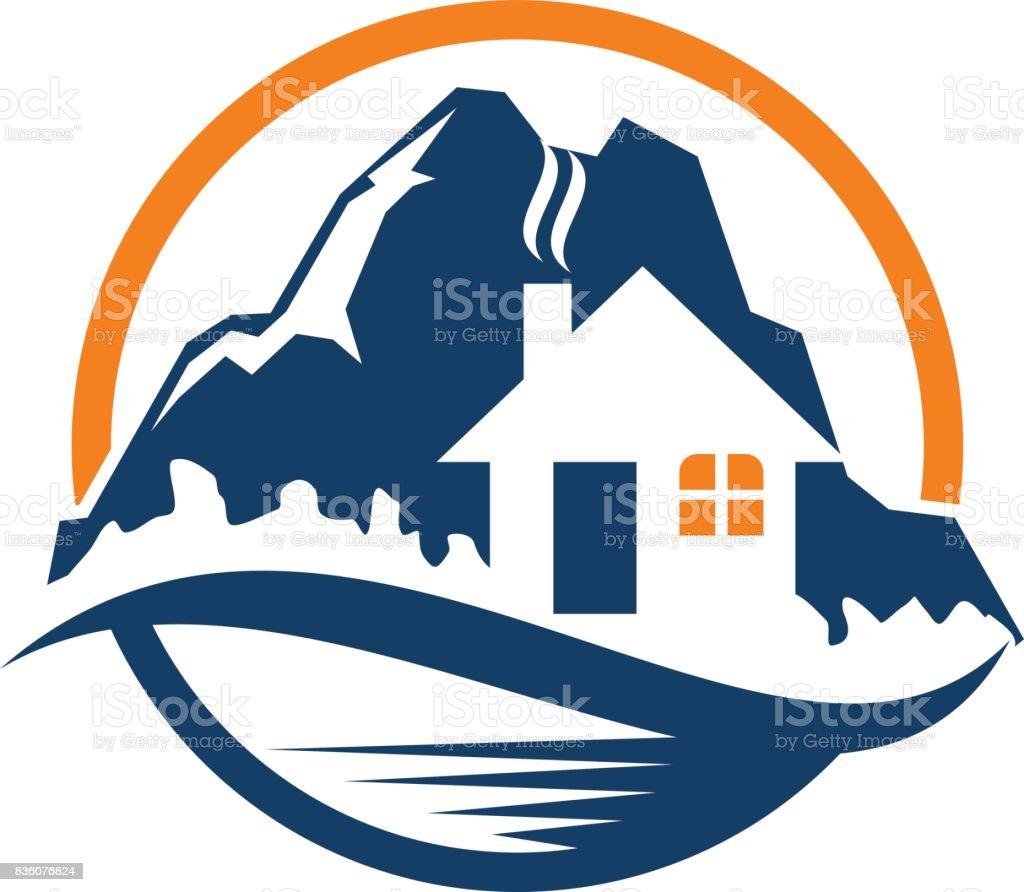Mountain Hostel vector art illustration
