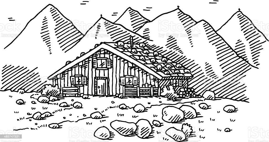 Mountain Hut Landscape Drawing vector art illustration