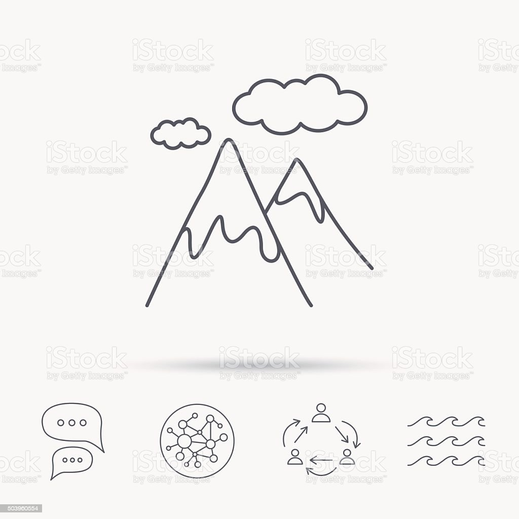Mountain icon. Hills and clouds sign. vector art illustration