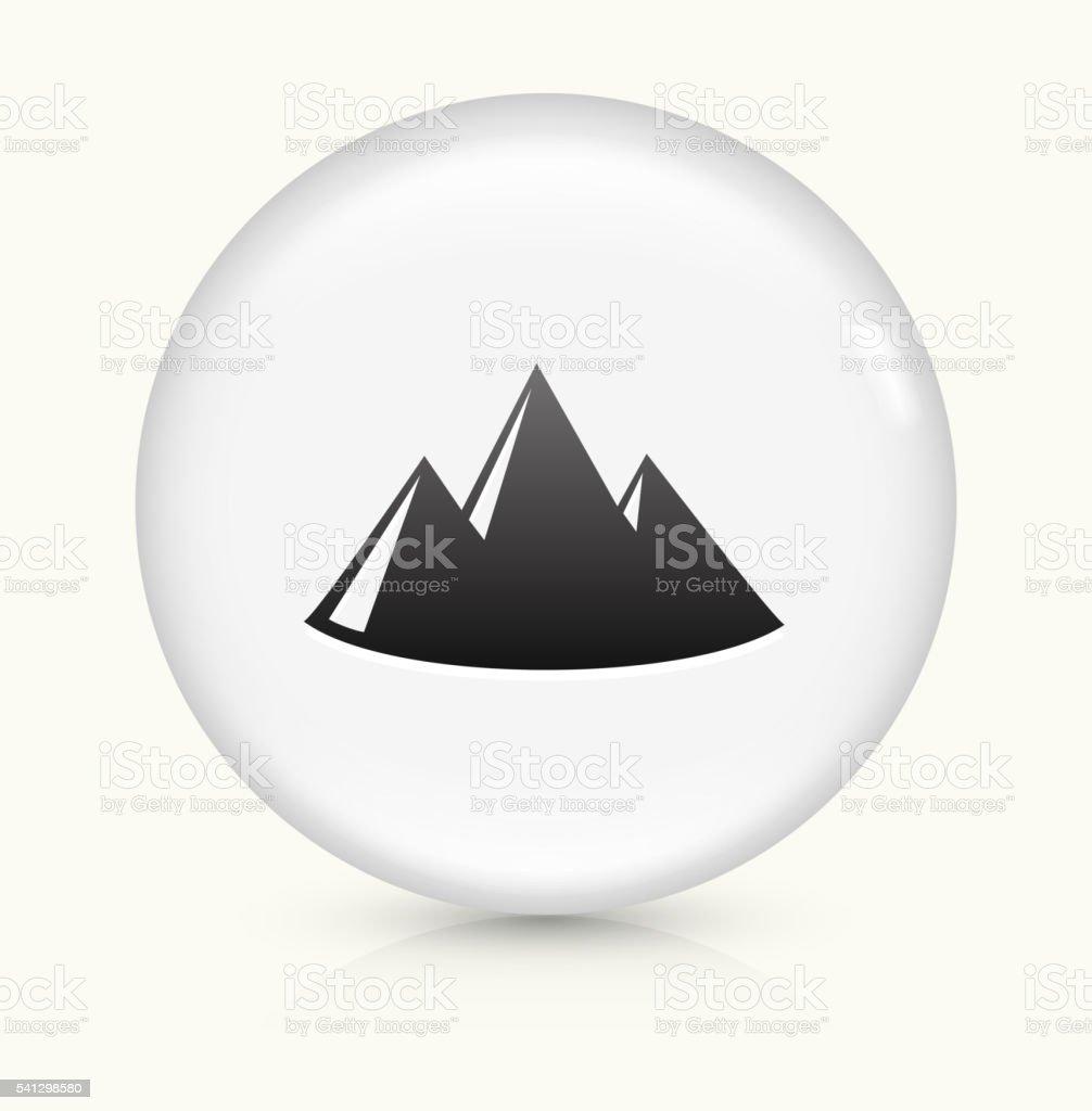 Mountain icon on white round vector button vector art illustration