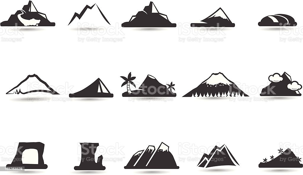 Mountain Icons and symbols vector art illustration