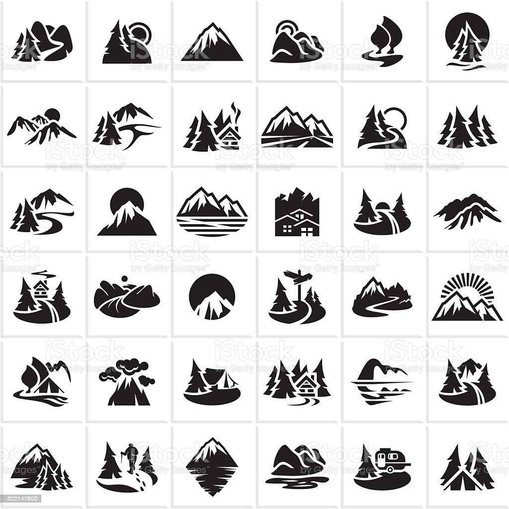mountain icons set, hills, forest vector art illustration