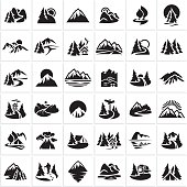 mountain icons set, hills, forest