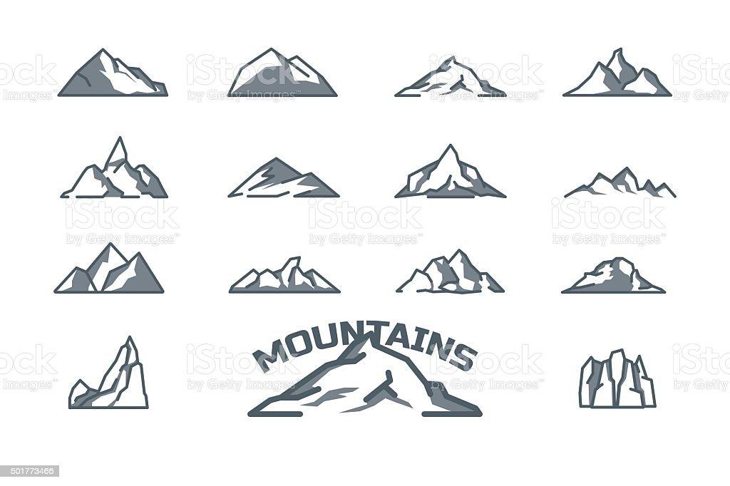 mountain icons set. Line art. Stock vector. vector art illustration