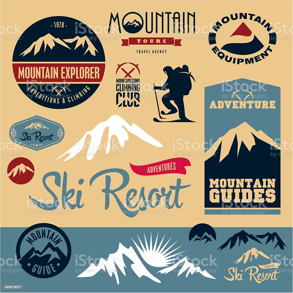 Mountain icons set. Mountain climbing. vector art illustration