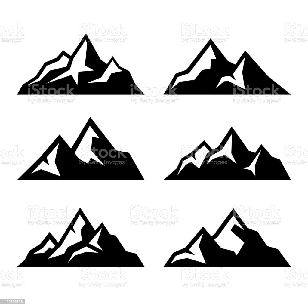 Mountain Icons Set on White Background. Vector vector art illustration
