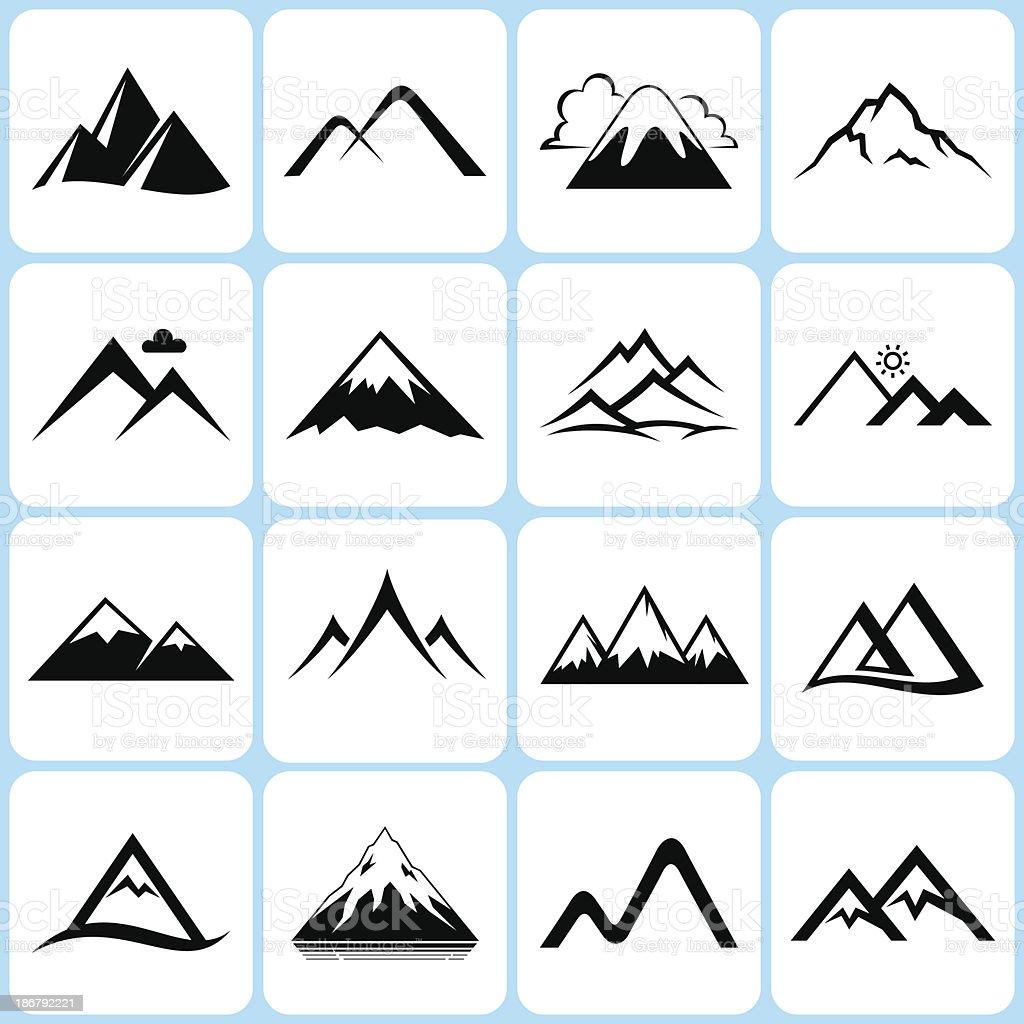 mountain icons set vector art illustration