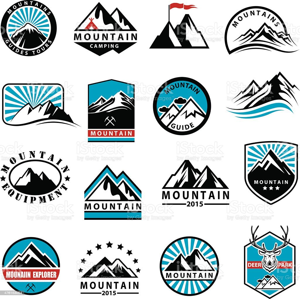 mountain icons set vector art illustration