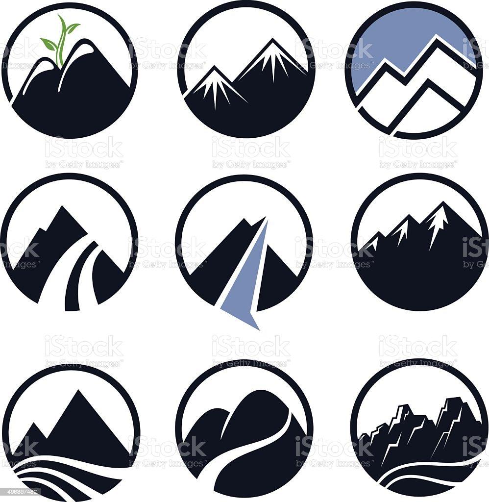Mountain icons vector art illustration