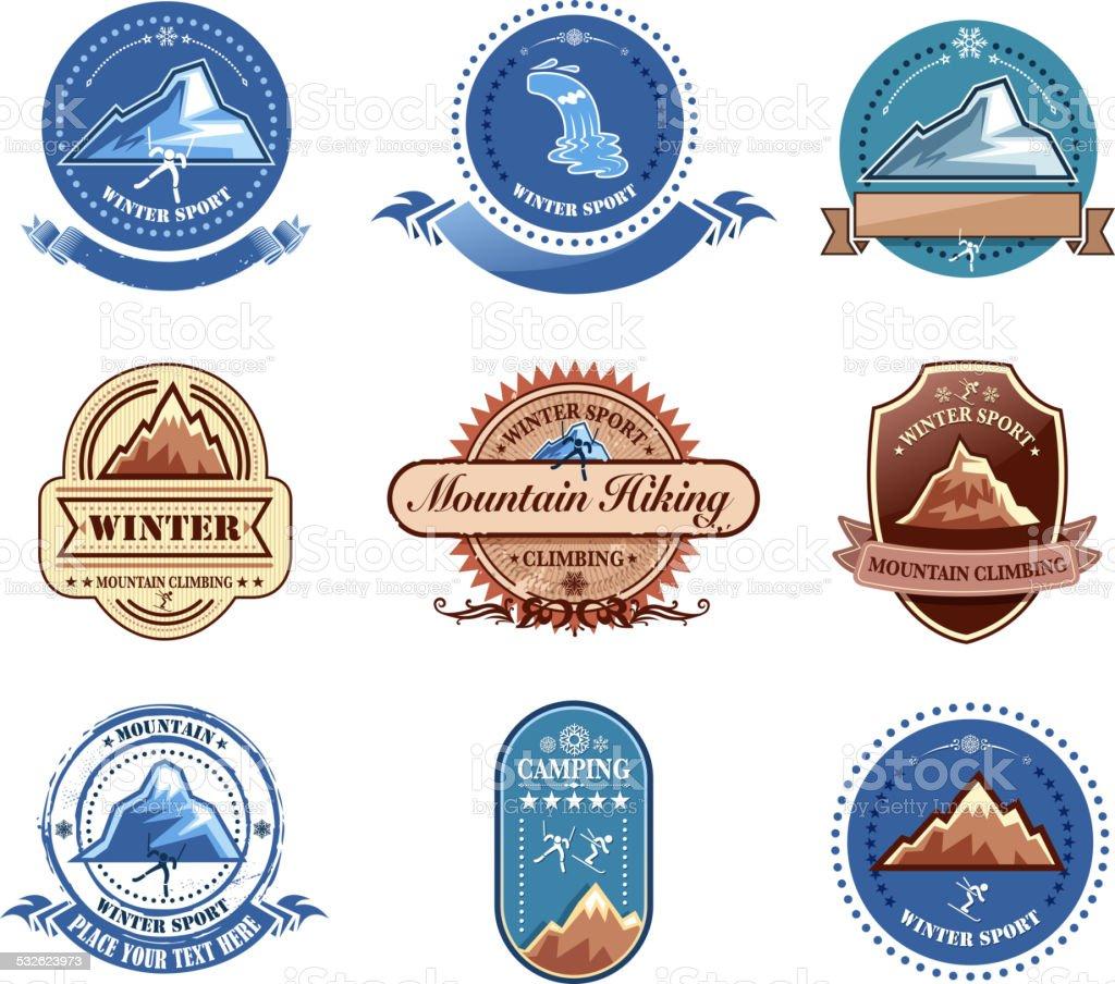 mountain label vector art illustration
