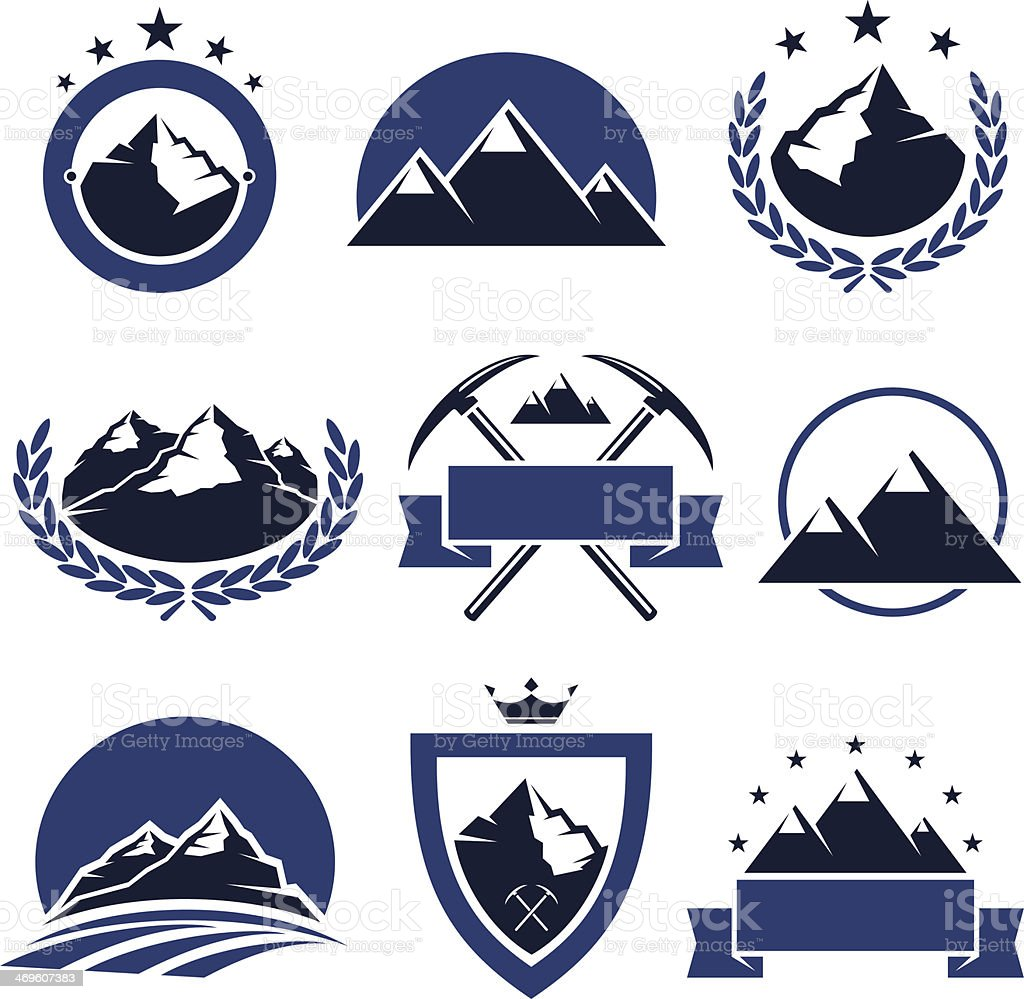 Mountain labels and icons set. Vector vector art illustration