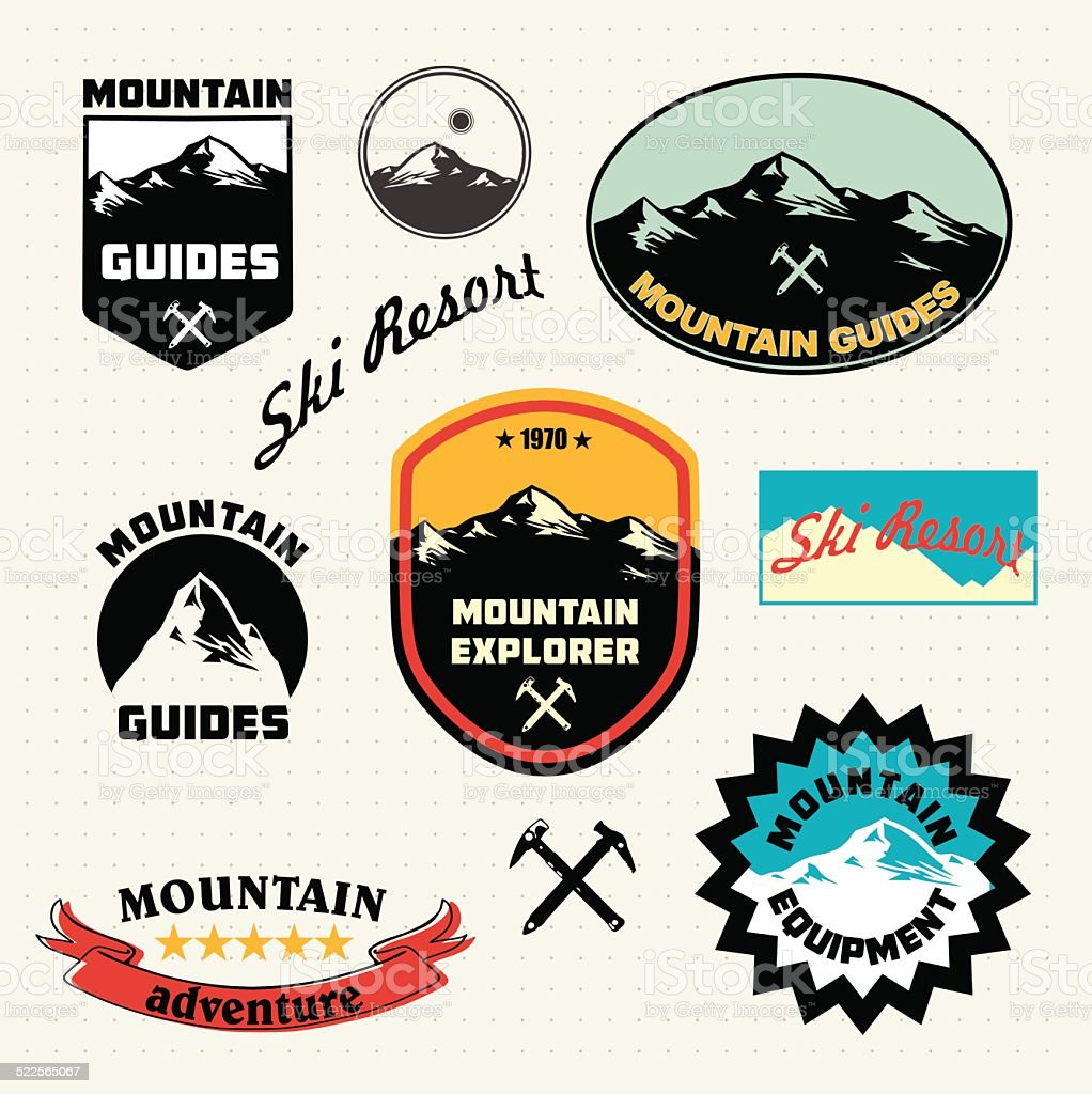 Mountain labels set.  Ski Resort logo and icon collection. vector art illustration