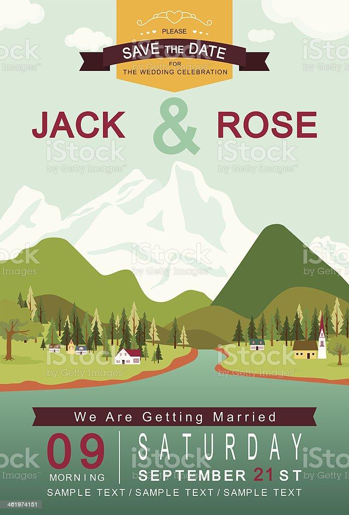 Mountain lake and village wedding invitation card template vector art illustration