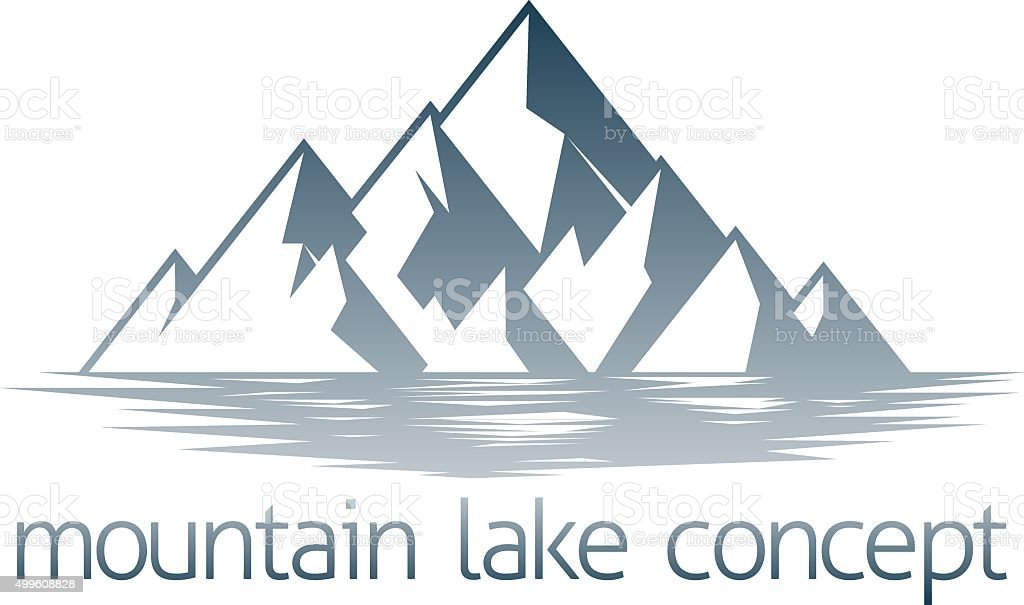 Mountain Lake Concept vector art illustration