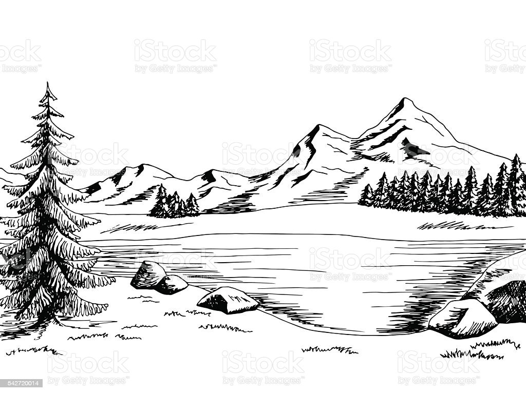 Mountain lake graphic art black white landscape illustration vector vector art illustration