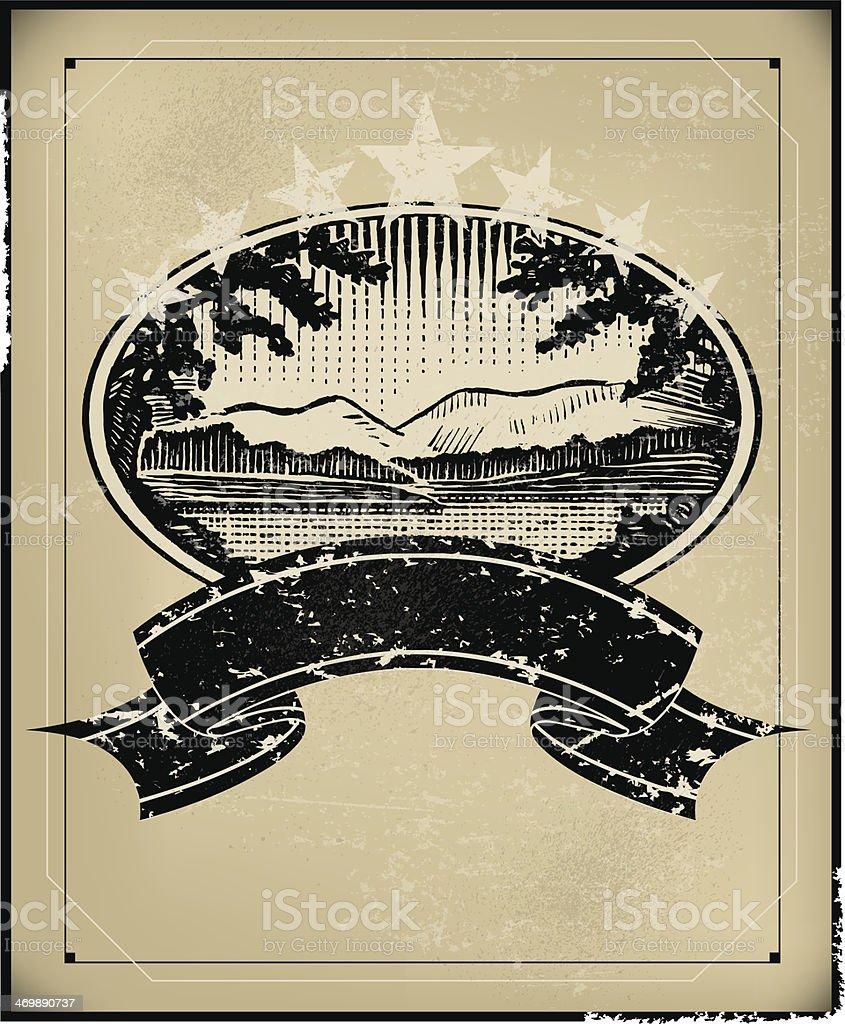 Mountain Lake Scene Retro Banner Background vector art illustration