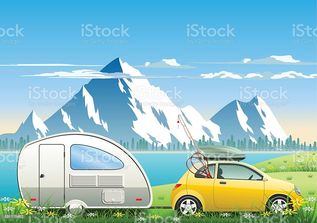 Mountain Lake Vacations vector art illustration