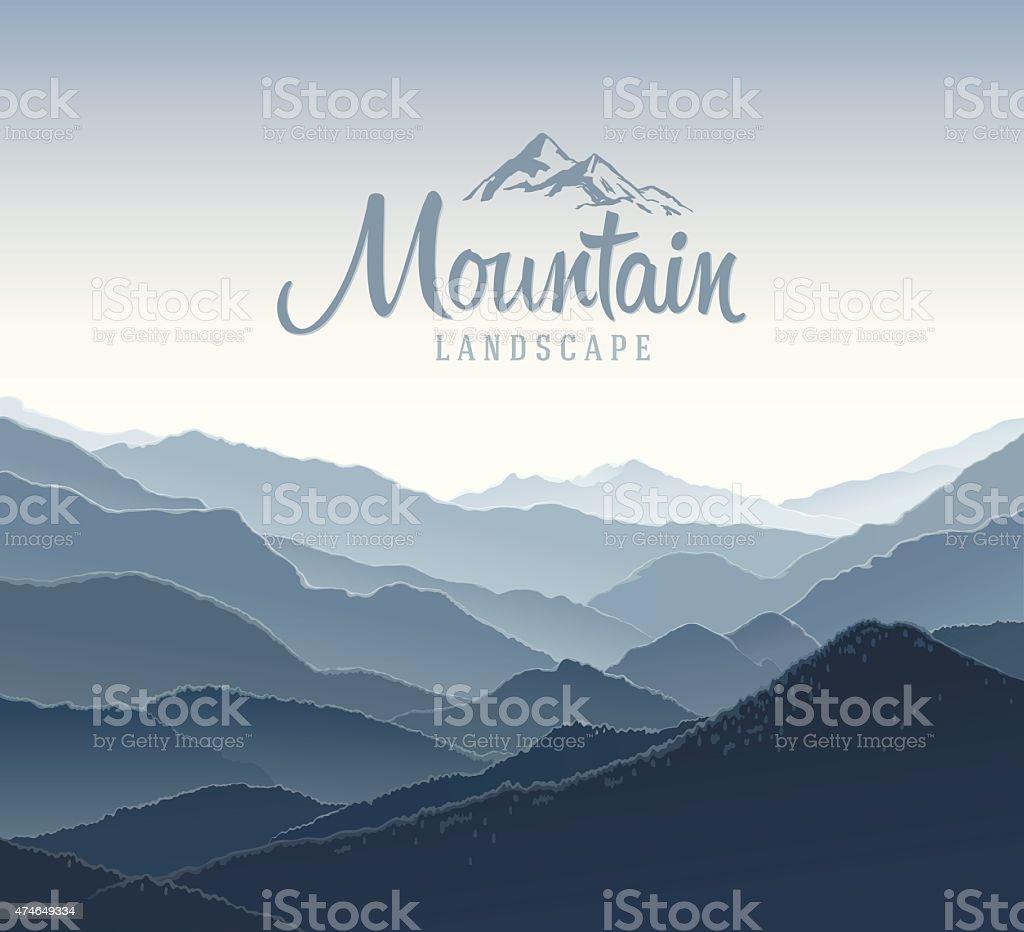 Mountain landscape and elements logo. vector art illustration