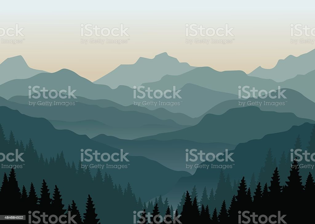 Vector illustration of a misty sunrise in the mountains. Layered...