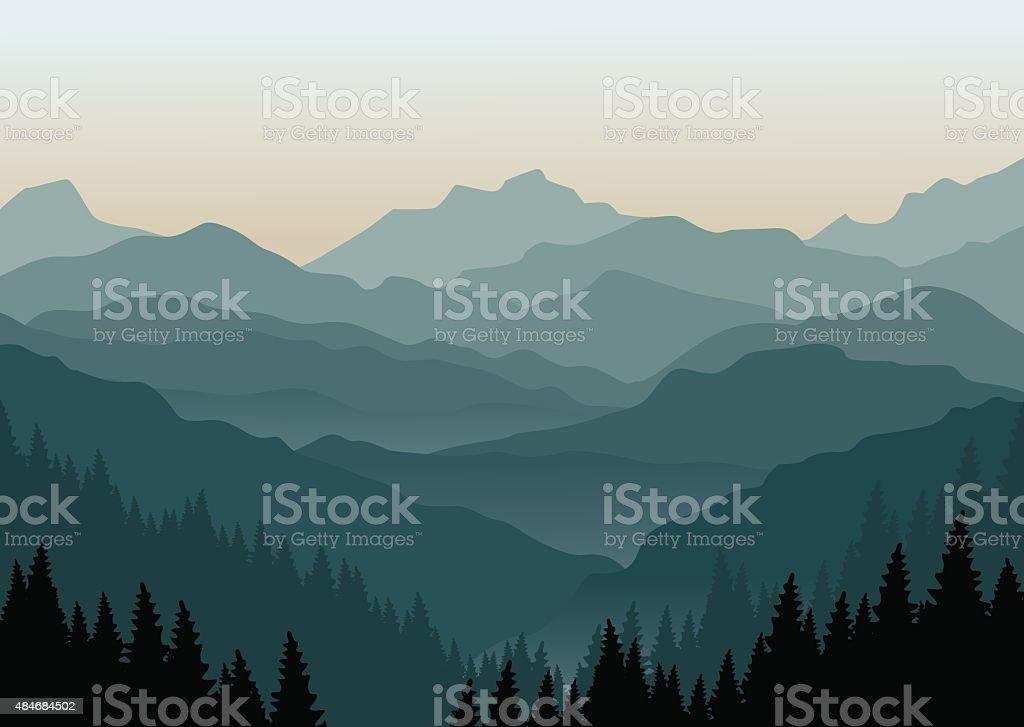 Mountain landscape at dawn vector art illustration
