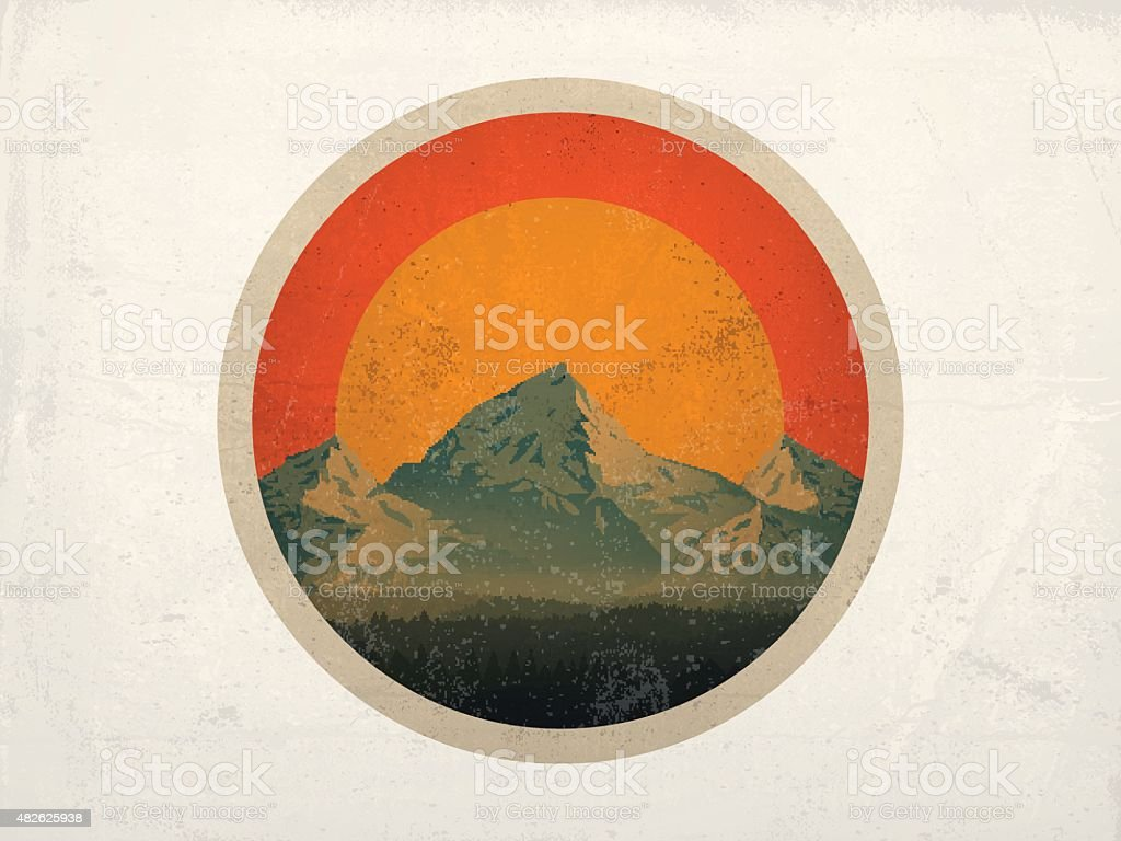 Mountain Landscape at Sunset vector art illustration