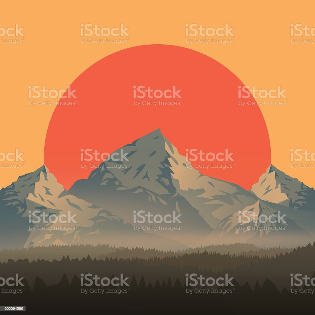 Mountain Landscape at Sunset vector art illustration