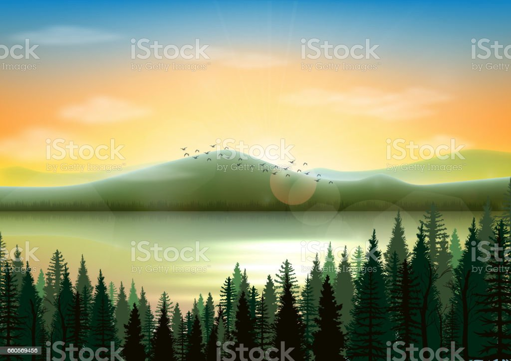 Mountain landscape background with lake and fir tree vector art illustration