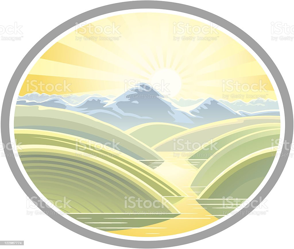 Mountain landscape in a frame royalty-free stock vector art