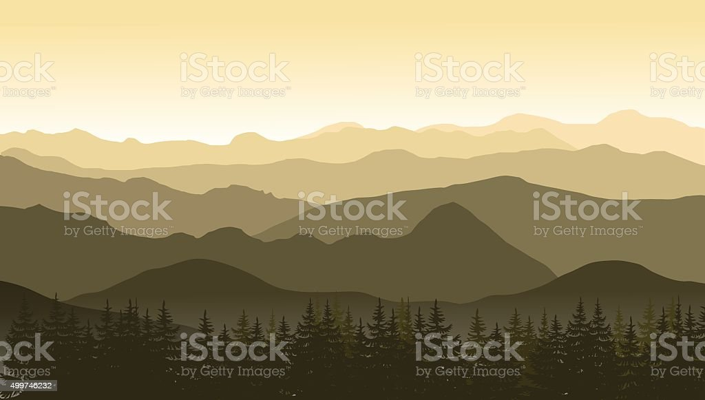Mountain landscape in brown colors at the morning. vector art illustration