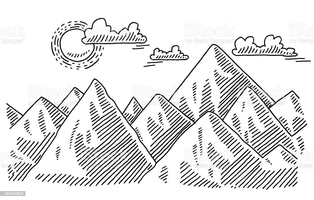 Mountain Landscape Sunny Weather Drawing vector art illustration