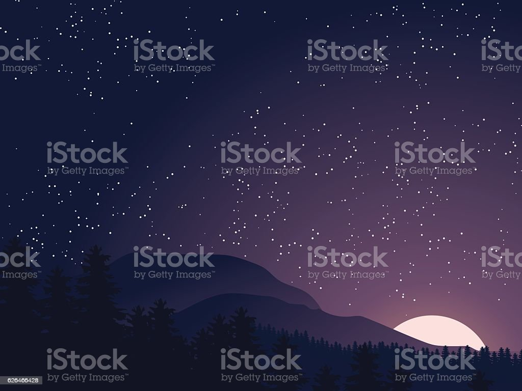 Mountain landscape vector art illustration