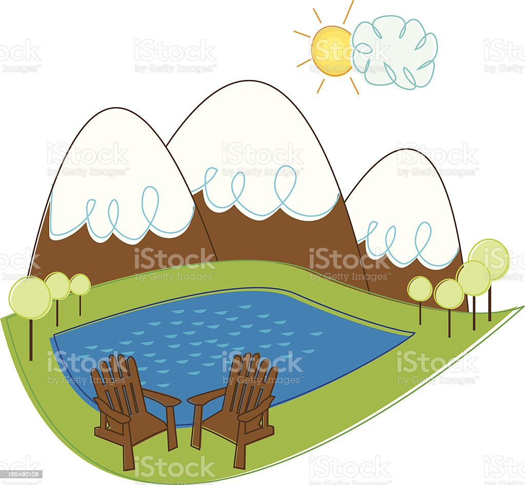 Mountain Landscape with Adirondack Chairs vector art illustration