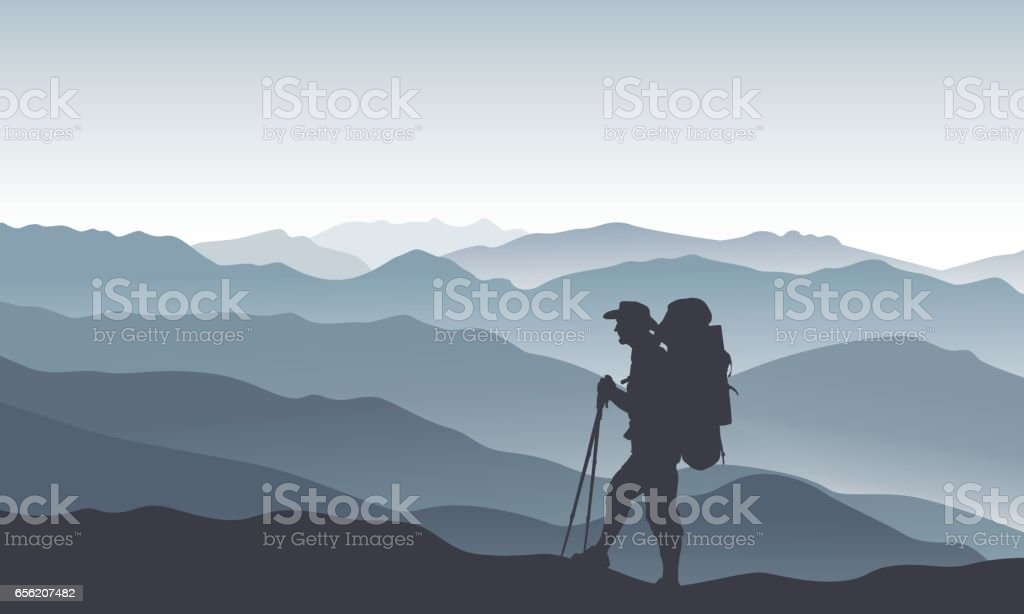 Mountain landscape with dark silhouette of a tourist vector art illustration