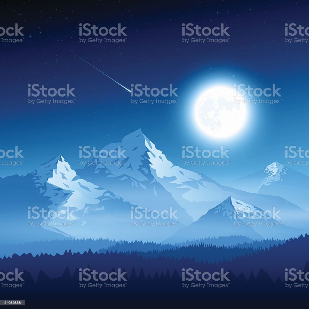 Mountain landscape with moon vector art illustration