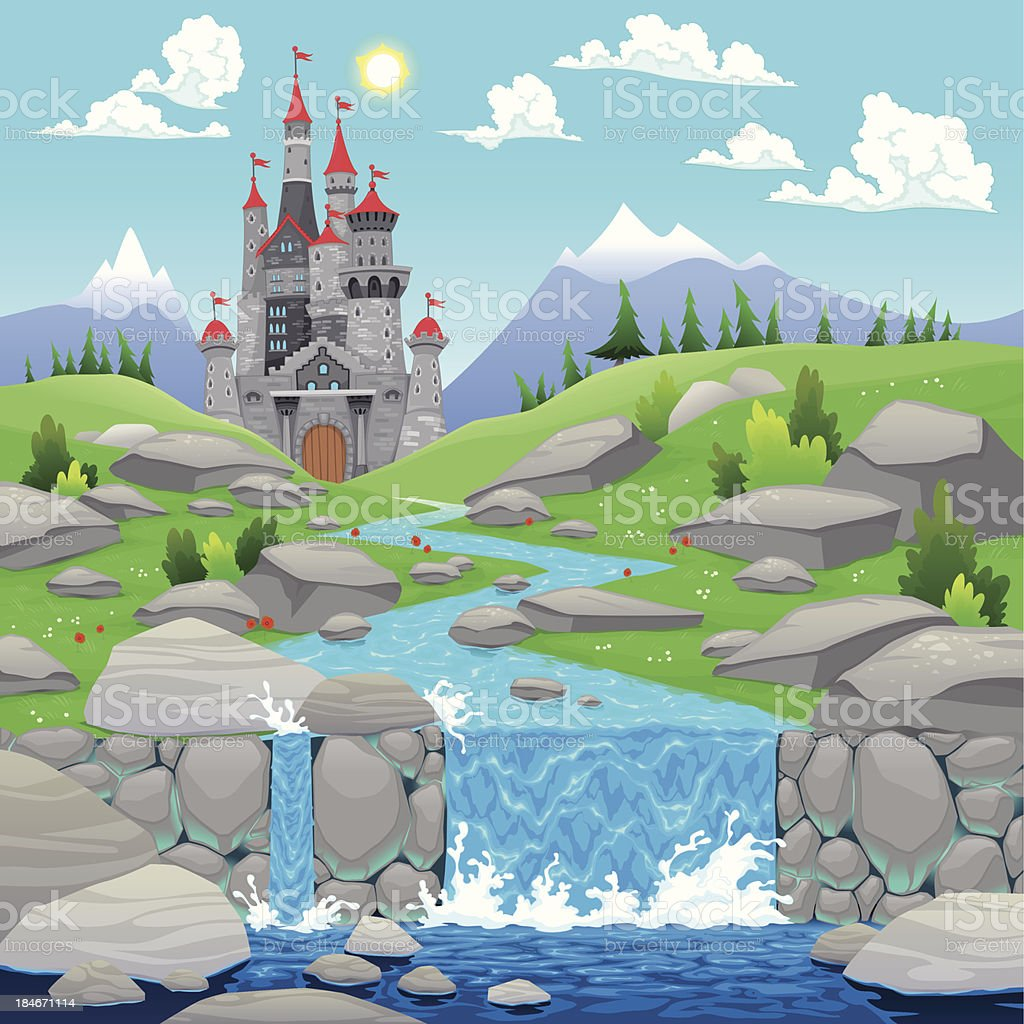 Mountain landscape with river and castle. royalty-free stock vector art